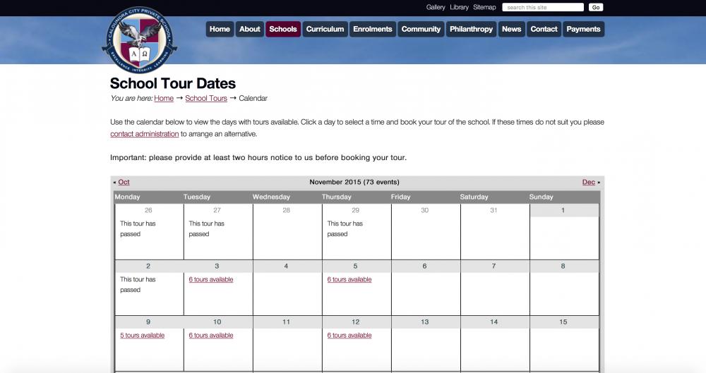 School tour calendar