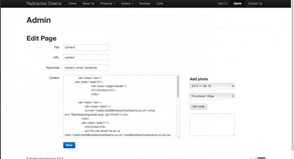 Admin - Edit page