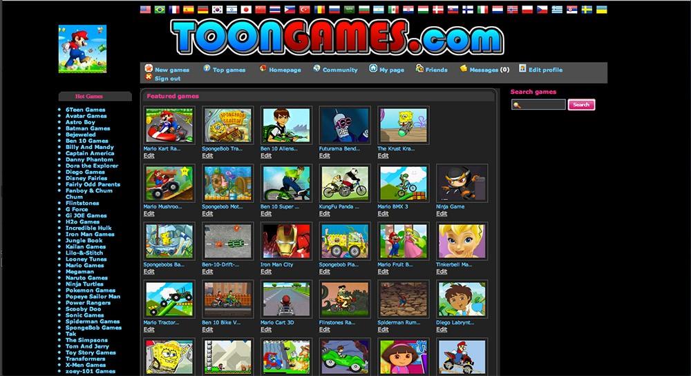 Toon Games homepage